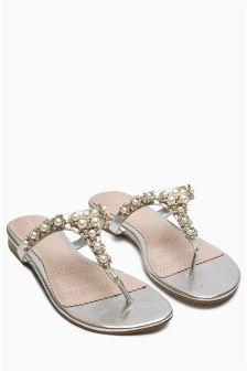 Silver Pearl Trim Mules