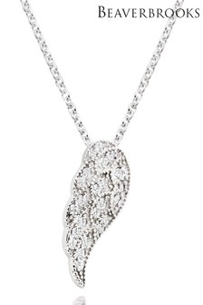 Beaverbrooks Silver Cubic Zirconia Angel Wing Pendant