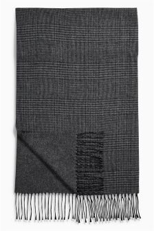 Grey Prince Of Wales Reversible Scarf
