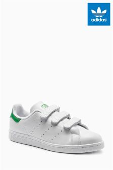 adidas Originals White/Green Strap Stan Smith