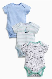 Boat Short Sleeve Bodysuits Three Pack (0mths-2yrs)