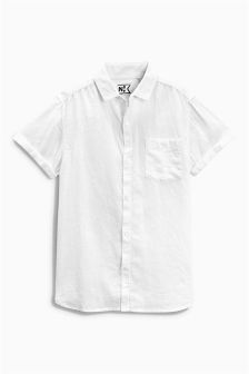 White Linen Blend Shirt (3-16yrs)