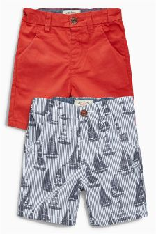 Red/Blue Boat Print Chino Shorts Two Pack (3mths-6yrs)
