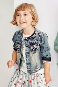Mid Blue Denim Flower Embroidered Jacket (3mths-6yrs)