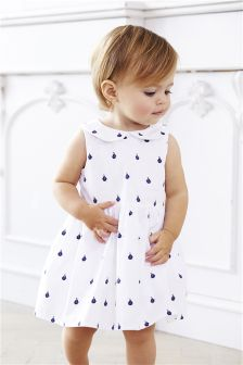 Boat Print Dress with Knickers (0mths-2yrs)