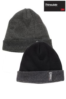 Black Thinsulate® Hats Two Pack