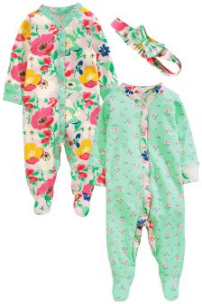 Floral Print Sleepsuits Two Pack With Headband (0mths-2yrs)