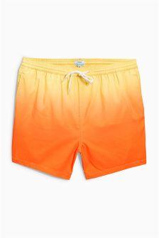 Orange Dip Dye Print Swim Shorts