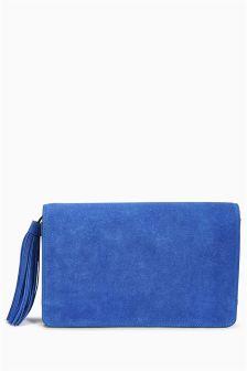 Leather Tassel Clutch Bag