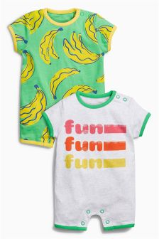 Fun Rompers Two Pack (0mths-2yrs)