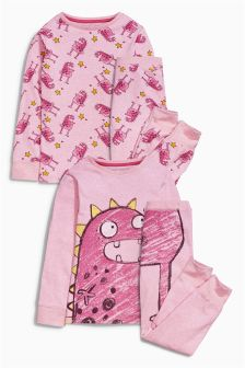 Pink Monster Pyjamas Two Pack (12mths-8yrs)