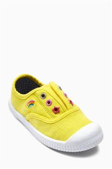 Yellow Laceless Low Tops (Younger Girls)