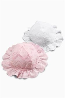 Broderie Hats Two Pack (0mths-2yrs)