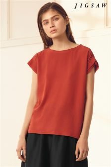 Jigsaw Orange Silk Front Layered Sleeve T-Shirt