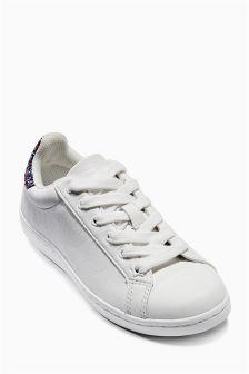 White Glitter Low Tops (Older Girls)