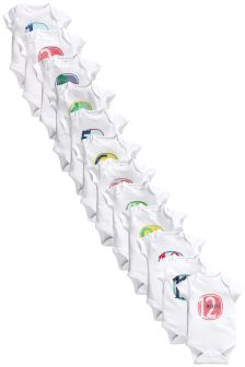 Twelve Pack White First Year Short Sleeve Bodysuits (0-12mths)