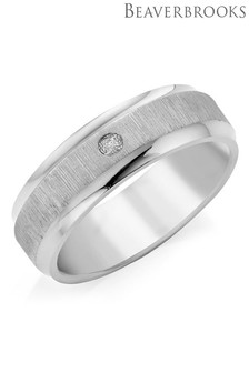 Beaverbrooks Mens Titanium Diamond Set Ring