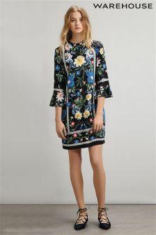 Navy Warehouse Botanical Print Shift Dress