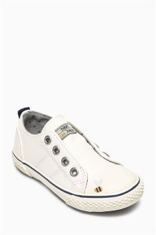 White Laceless Low Tops (Younger Girls)