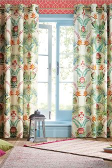 Tropical Floral Mirror Print Eyelet Curtains