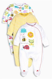 Sunshine Print Sleepsuits Three Pack (0mths-2yrs)