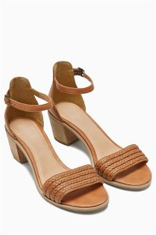 Leather Weave Block Heel Sandals