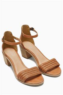 Leather Weave Block Heel Sandals