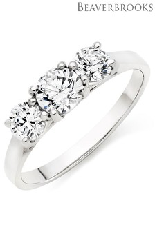 Beaverbrooks 9ct White Gold Cubic Zirconia Three Stone Ring