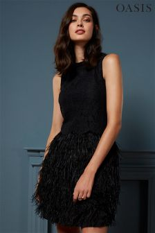 Oasis Black Feather Dress