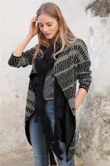 Monochrome Jacquard Waterfall Jacket