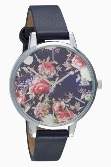 Navy Floral Print Face Watch