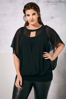 Live Unlimited Black Wrap Blouse