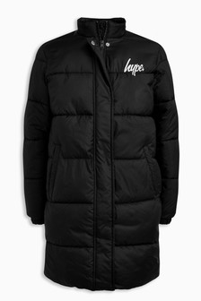 Hype. Black Long Padded Jacket