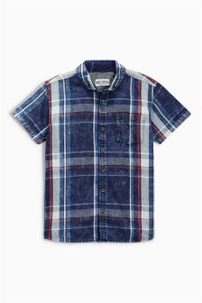 Navy/Red Denim Washed Check Shirt (3-16yrs)