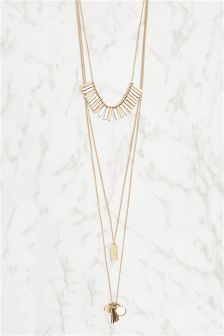 Gold Coloured Delicate Layered Necklace
