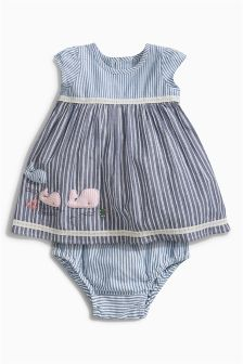 Stripe Dress With Knickers Set (0mths-2yrs)