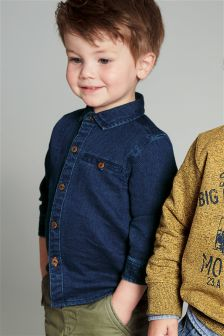 Blue Textured Shirt (3mths-6yrs)