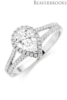 Beaverbrooks Silver Cubic Zirconia Pear Halo Ring