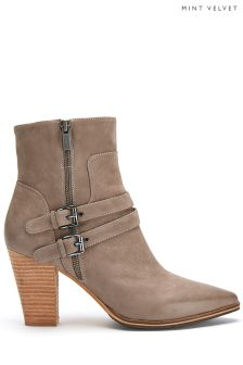 Taupe Mint Velvet Nubuck Buckle Detail Pointed Boot