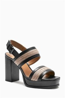 Black Leather Contrast Weave Platform Sandals