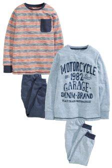Multi Vintage Graphic Pyjamas Two Pack (3-16yrs)