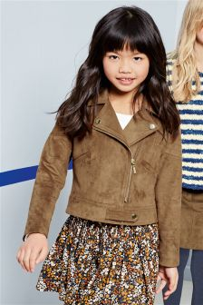 Tan Suede Effect Biker Jacket (3-16yrs)