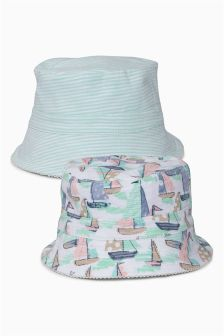 Printed/Stripe Sun Hats Two Pack (0mths-2yrs)