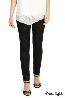 Phase Eight Black/Silver Aida Sparkle Jean