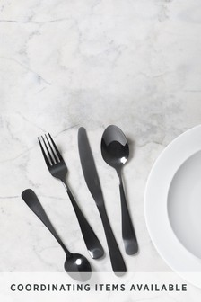 16 Piece Black Cutlery Set