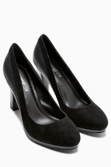 Black Forever Comfort Leather Platform Court Shoes