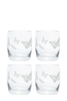 Set Of 4 Butterfly Short Tumblers