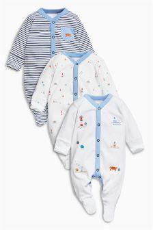 Blue Seaside Print Sleepsuits Three Pack (0mths-2yrs)