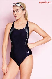 Black Speedo® Sports Logo Medalist Swimsuit
