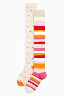 Spot & Stripe Over The Knee Socks Two Pack